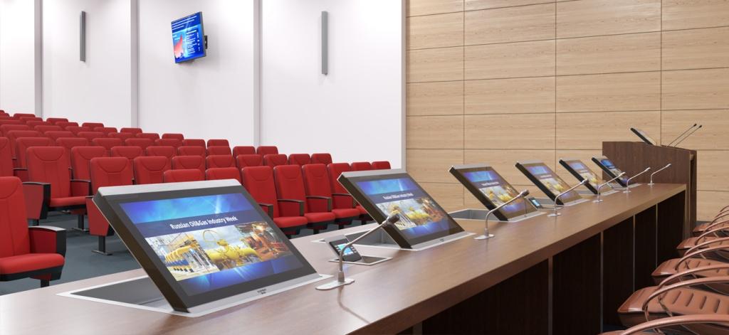 Стол президиума в конференц- зале